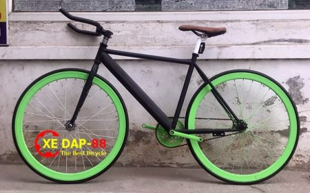xe dap fixed gear single aventon den xanh la